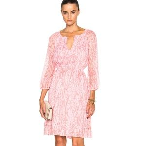 DVF Pink Coral Silk Parry Chiffon Peasant Dress